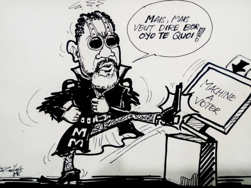 Caricature sur l'opinion de Koffi Olomide sur la machine à voter